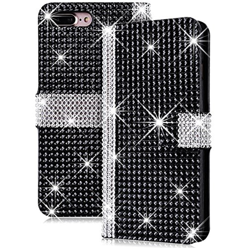 iPhone 7 Hülle, Yokata Luxury Lederhülle Bling Diamant Case mit Card Slot Standfunction PU Handytasche Bookstyle Schwarz