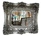 Spiegel 65x72cm Wandspiegel silberfarben Verzierungen Rosen antik Stil mirror