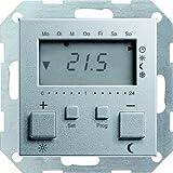 Gira 237026 Raumtemperatur-Regler 230 V mit Uhr System 55, alu