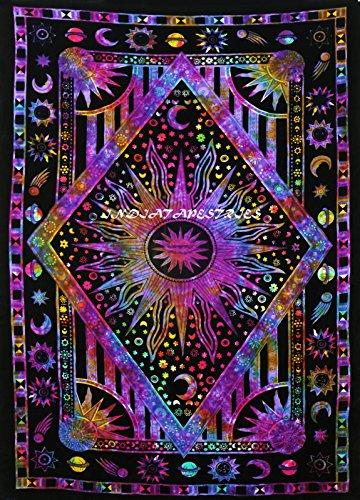 Tapiz de doble costura, hecho a mano, diseño de mandala con estrellas
