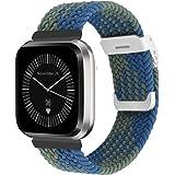 Vozehui Gevlochten Solo Loop Horlogebandjes compatibel met Fitbit Versa 2, Versa Lite, verstelbare elastische ademende zachte