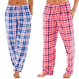 Ladies Selena Secrets Lounge Pants Soft Checked Fleece Pyjama Bottoms