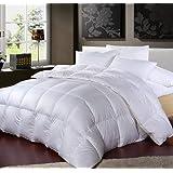 Hotel Comforter 6 Pcs Set By Valentini, King Size, Plain Squares D1, White, Microfiber