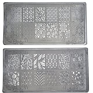 Aiuin 2 x Stamping Print Plate Image Stamp Plate Manicure Nail Art Nail Decoration 78