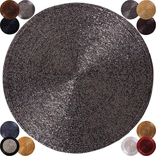 6er Pack Glasperlen Tischset handgefertigt Ø36cm Auswahl: silber - metallic