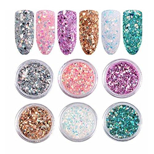 6 unidades de polvo de purpurina de color Taottao para decoración de uñas, purpurina en polvo, bricolaje