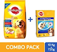 Pedigree Adult Dog Combo Pack of Dry Food (Chicken & Vegetable, 10kg) & Dentastix Oral Care Monthly Pack of 28 stix (720g)