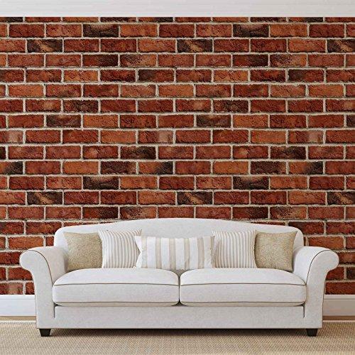Ziegelwand - Wallsticker Warehouse - Fototapete - Tapete - Fotomural - Mural Wandbild - (519WM) - XXXL - 416cm x 254cm - VLIES (EasyInstall) - 4 Pieces (Stein Textur Backstein)