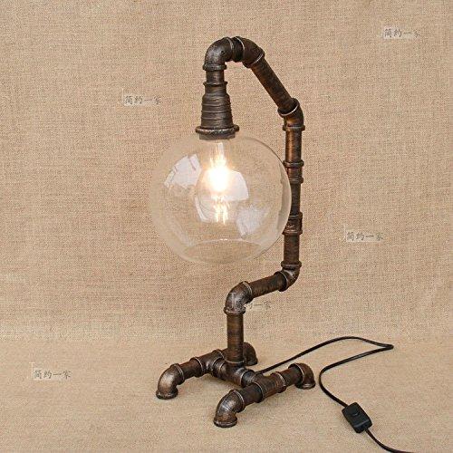 Lampe-glas-schornsteine (Modeen Weinlese-industrielle Metallwasser-Rohr-Lampe Glas-Schornstein-Rohr-Lampe Lampenschirm-Schlafzimmer-Nachttischlampe Schreibtisch-Tabellen-Lampen-Leuchten (Wasser-Rohr-Tabellen-Licht))