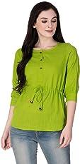 GMI Beautiful Green Exclusive Cotton Slub Womens Top Length 26 Inches