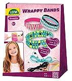 Lena 42652 - Bastelset Wrappy Bands, mit 7 Armbänder aus Silikon in 5 Farben, Kordel in 4 Farben und 48 Fädelperlen, Kreativ Set für Kinder ab 6 Jahre, Schmuck Bastel Set mit Anleitung zum selber machen für mindestens 3 Wickelarmbänder