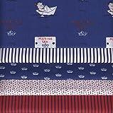 Stoffpak (Stoffpaket) Kollektion Baby Segler - BLAU, Rot und Weiß | 5 Stoffe | 100% Baumwolle | 35 x 50 cm