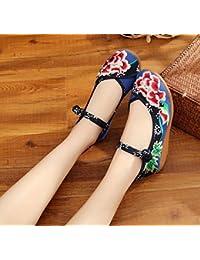 Chnuo Zapatos bordados lino lenguado del tendón estilo étnico zapatos femeninos aumentados manera cómodo ocasional...