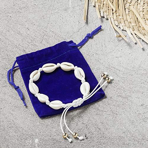 Damen Armband mit Muscheln | Muschelkette Handgemacht für Frauen | Muschelarmband auch als Fußkette geeignet | Fußkettchen aus Muschel geliefert mit Schmuckbeutel | Schmuck mit Perlen