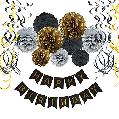 Geburtstag Dekoration Set, Recosis Happy Birthday girlande mit Spiralen Dekoration und Seidenpapier Pompoms Kindergeburtstag Deko für Mädchen und Jungen Jeden Alters - Schwarz , Silber und Gold