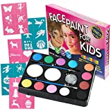 Face Paint Kit for Kids (47 Pieces) 12 Color Palette: 30 Stencils, 2 Brushes, 2 Sponges, 1 Glitter. Best Quality Professional Face Painting Party Set. Safe Non-Toxic, Boys & Girls. Free Online Guide by Awesome Fun - America's Best Selling Face Paint!