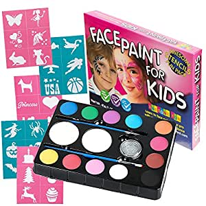 Face Paint Set for Kids, 12 Colour Kit with 30 Stencils, 2 Brushes, 2 Sponges, 1 Glitter. Professional Quality Face Painting Party Palette. Safe Non-Toxic, Easily Removable. Free eBook Design Guidance