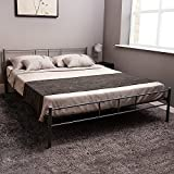 Home Discount Dorset King Size Bed Frame, 5ft Metal Bed Frame Bedroom Furniture, Silver