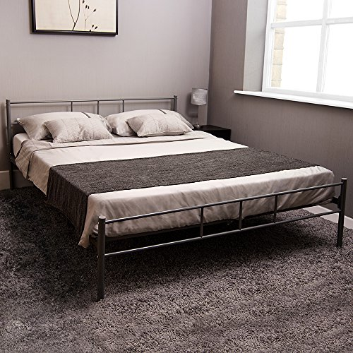 Home Discount Dorset Double Bed, Silver