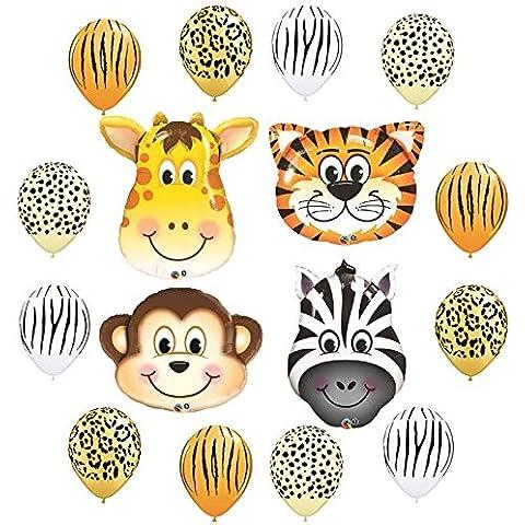 Safari Jungle Zoo Animals Jumbo Balloons Zebra, Tiger, Giraffe & Monkey and 12 pc Safari 11 Latex Mix by