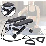 CellDeal Fitness Step Swing Stepper Machine with Training Tapes Up-Down Stepper for Beginners and Advanced Users with Mini LCD Display Twist Stepper Exercise