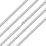 ChainsHouse - Collana con Catena a Maglia Cubana/Figaro in Argento Sterling 925 Massiccio Italiano 3mm 5mm per Donna, Uomo, 1