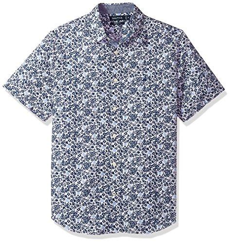 Nautica Herren Short Sleeve Printed Shirt Button Down Hemd, Estate Blue, XX-Large - Nautica Herren Hemd