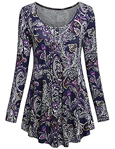 Long Sleeve Shirts for Women,SUNERLORY Business Casual Crew Neck Buttons