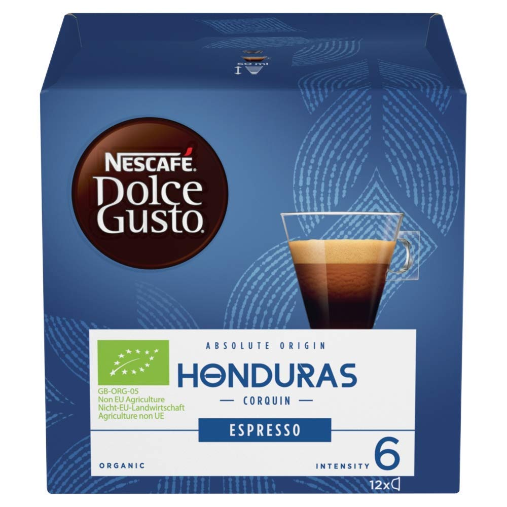 Nescafé Dolce Gusto Espresso coffee pods and capsules (a dark chocolate, honey, malty notes coffee with aromas of dried fruit and chocolate, spices and tobacco)