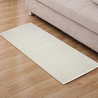 Furnily baumwolle diamant teppiche rutschfeste hand made küche teppich runner maschine waschbar matte boden carpet tür matte teppich 60 x 130 cm (beige und weiß)