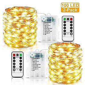 Nasharia LED Lichterkette Batterie, 2 Stück 10m 100LED 8 Mode Wasserdicht Fernbedienung und Timer Lichterkette Stimmungslichter Beleuchtung für Zimmer, Innen, Weihnachten, Außen, Party