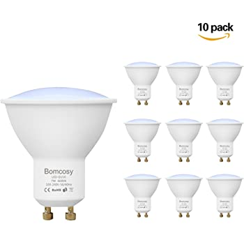 Bomcosy Pack de 10 Bombillas LED GU10 7W, Equivalente a 60Watt Halogenos Lámpara Incandescente, Luz Blanco Frio 6000K, 600 Lumens, No Regulable