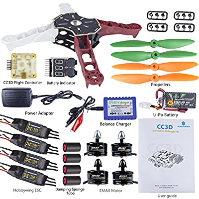 SunFounder Q250 FPV Quadcopter Drone Frame Kit CC3D Controller Hobbywing ESC XROTOR 15A Motor EMAX MT2204 2300KV 11.1V Li-po Battery Racing Flying 4-Axis CW/ CCW Propellers Balance Charger