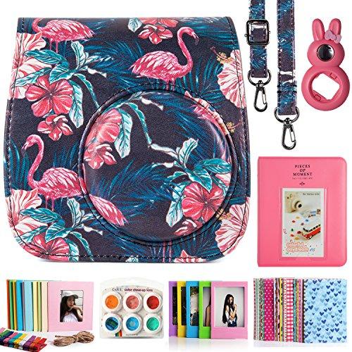CAIUL Compatible 7 in 1 Mini 9 8 8+ Kamera Zubehör Bundles Set mit Tasche, Album, Close-Up Linse, Frames und anderes Zubehör (Schwarzer Flamingo)
