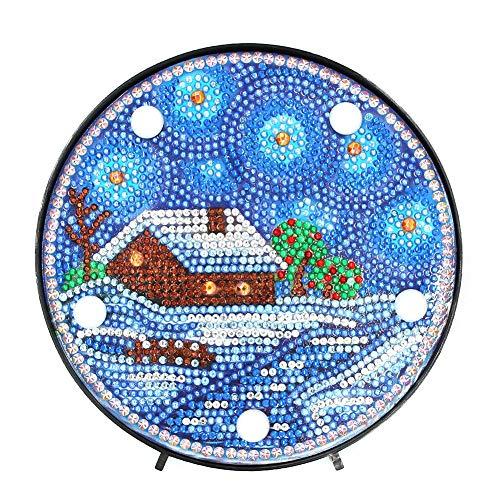 Starnearby Diamond Painting Kit LED Dekoratives Licht Diamant Malerei Haus Home Schlafzimmer Nachtlicht Schreibtisch Dekoration Nachtlicht -