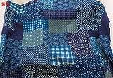 IDEA HIGH IDEA HOCH rot und blau prüFen und mit Blumenmustern Ethnischen Stoff Baumwolle und Leinen Gewebe Tischdecke für DIY Handarbeit Home Decor Kissen Tela: Blau, 100x140cm
