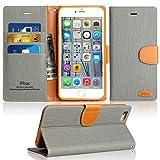 Coque iPhone 6 Plus / 6S Plus, IPHOX  PU Etui en Cuir Portefeuille de Protection, Livre Horizontale, Emplacements Cartes avec Fonction Support et Languette Magnétique pour iPhone 6P / 6SP (Gray)