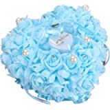 Zinsale Elegant Heart Shaped Wedding Ring Bearer Pillow Rose Ring Box with Satin Floral