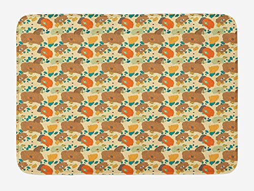tgyew Flower Bath Mat, Retro Style Rich Poppy Blossoms with Artistic Designs Patterned Petals and Leaves, Plush Bathroom Decor Mat with Non Slip Backing, 23.6 W X 15.7 W Inches, Multicolor Multi Color Patterned