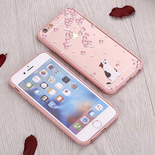 Cover Per iPhone 6 Plus / 6s Plus 5.5 Bling Glitter, Custodia Design Emoticon multicolore Trasparente Plastica Con Sabbia Mobili Blu Brillanti ,Vandot Shell 3D Quicksand Case Con Stella Fluente Liqui Design 09