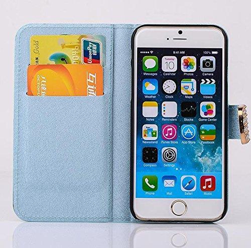 """inShang Hülle für Apple iPhone 6 iPhone 6S 4.7 inch iPhone6 iPhone6S 4.7"""", Cover Mit Modisch Klickschnalle + Errichten-in der Tasche + SILK PATTERN FLOWER DECORATION , Edles PU Leder Tasche Skins Etui diamond light blue"""
