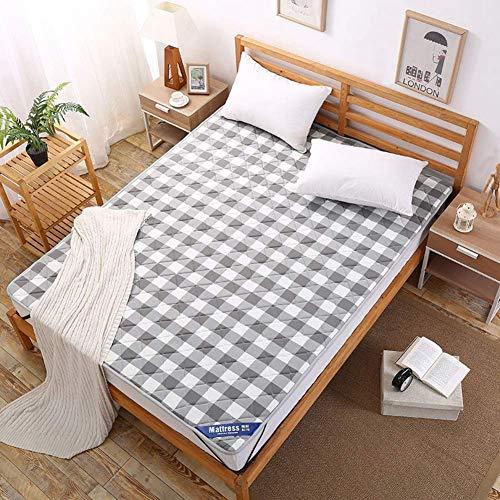 EEvER Schlafmatte Bequeme Matratze Gingham Thin Gesteppte Baumwolle Matratzenschutzdeckel-Rot 90x200cm (35x79 Zoll) (Farbe : Gray, Größe : 100x200cm(39x79inch)) -