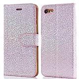 iPhone 5 / 5S / SE Hülle (4,0 Zoll), LCHULLE Perlenspots Bling Glitter Slim PU Leder Flip Case Silikon Rückseitige Abdec