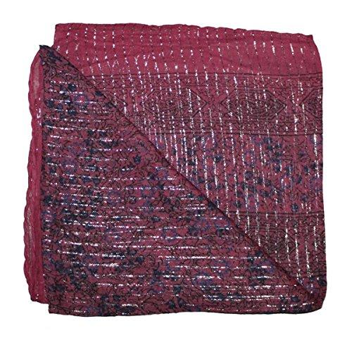 Superfreak® Baumwolltuch Indisches Muster mit Silber Lurex ° leichte Qualität ° Tuch ° Schal ° 100x100 cm ° 100% Baumwolle, Farbe: rosa silber Muster