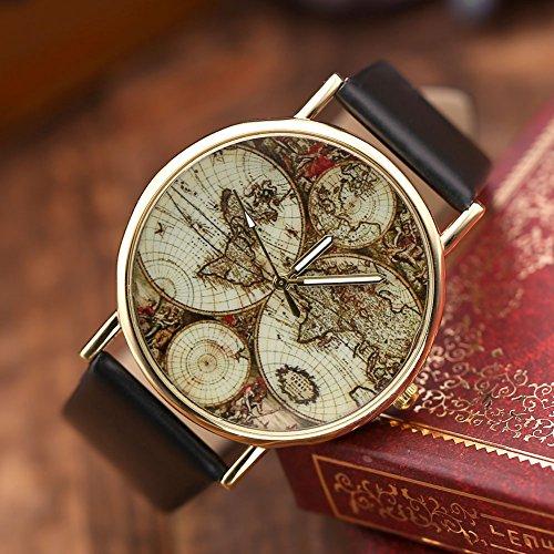JSDDE Damen Mädchen Uhren Vintage Weltkarte Quarzuhr Armbanduhr Plus Infinity Wickelarmband, Schwarz - 2