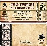 Einladungskarten zum Geburtstag mit Abriss-Coupon als Kino-Ticket 40 Stück