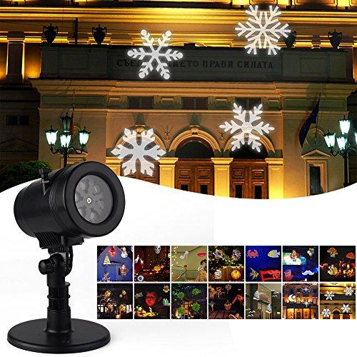 LED Projektionslampe Weihnachtsbeleuchtung Halloween Bodenleuchte mit 14 verschiedene Lichteffekt für Allerheiligen Weihnachten Party Festival-Dekoration Gartenbeleuchtung