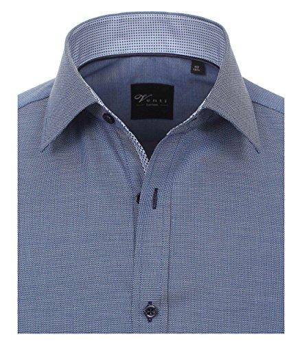 ... Venti Slim Fit Hemd Langarm mit Blauen Besätzen Struktur Weiß dunkles  Mittelblau - uni nah ...