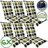 SunDeluxe Hochlehner Auflage für Gartenstühle 120x50x8cm - Premium Stuhlauflage mit Komfortschaumkern und Bezug 100% Baumwolle - Sitzauflage...