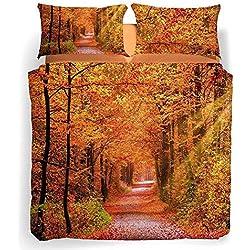 Caleffi Completo Copripiumino Letto Matrimoniale Sogni di Viaggio Autumn Leaves Stampa Digitale